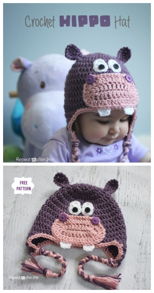 DIY Crochet Hippo Ear Flap Hat Free Crochet Pattern