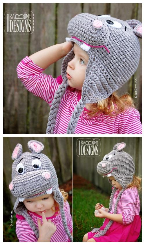 DIY Hippo Beanie Hat Crochet Pattern