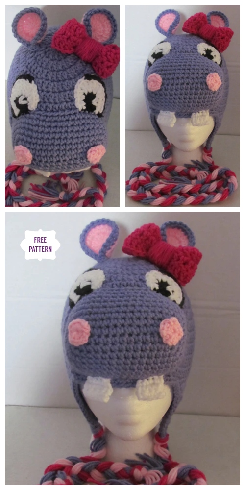 DIY Crochet Happy Hippo Beanie Hat Free Crochet Pattern