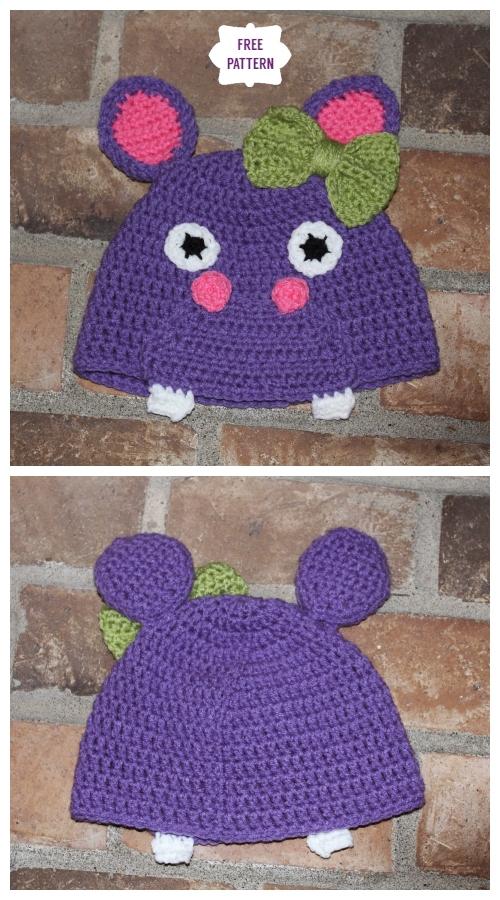 DIY Crochet Hippo Beanie Hat Free Crochet Pattern