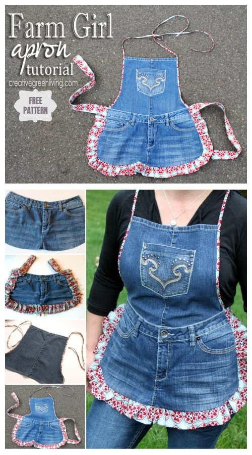 DIY Farm Girl Apron from Jeans Free Sewing Pattern
