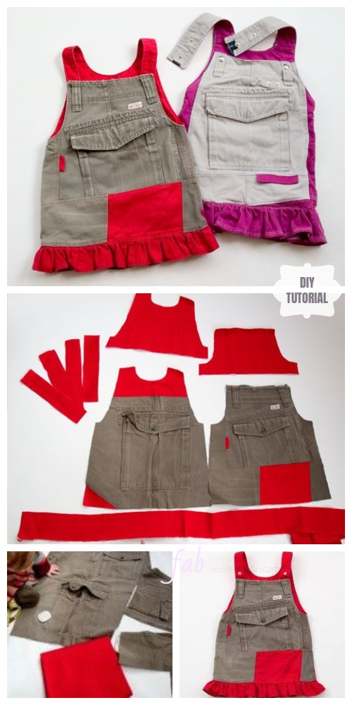 DIY Girls Jumperall Dress from Old Cargo Pants Free Sewing Pattern