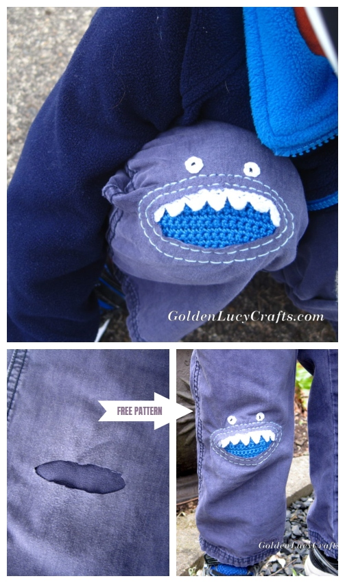 Fun DIY Jean Hole Patches in Cutest Ways - Crochet Monster Knee Patch Free Pattern