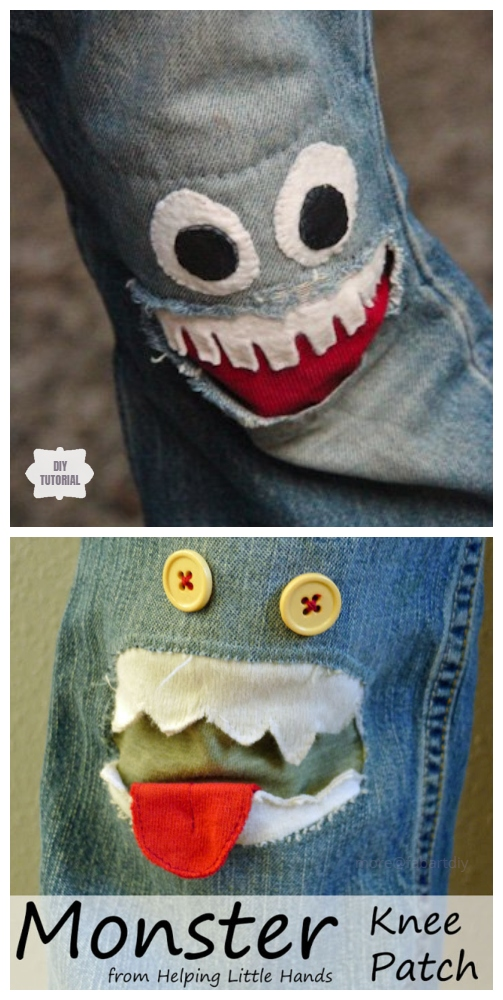 Fun DIY Jean Hole Patches in Cutest Ways - Monster Jean Holes Patch DIY Tutorial