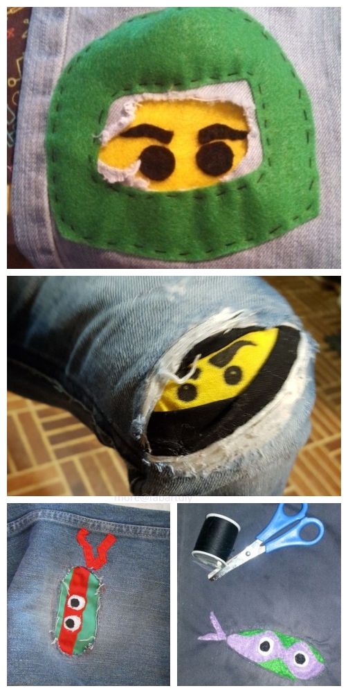 Fun DIY Jean Hole Patches in Cutest Ways - Ninja Jean Holes Patch Repair