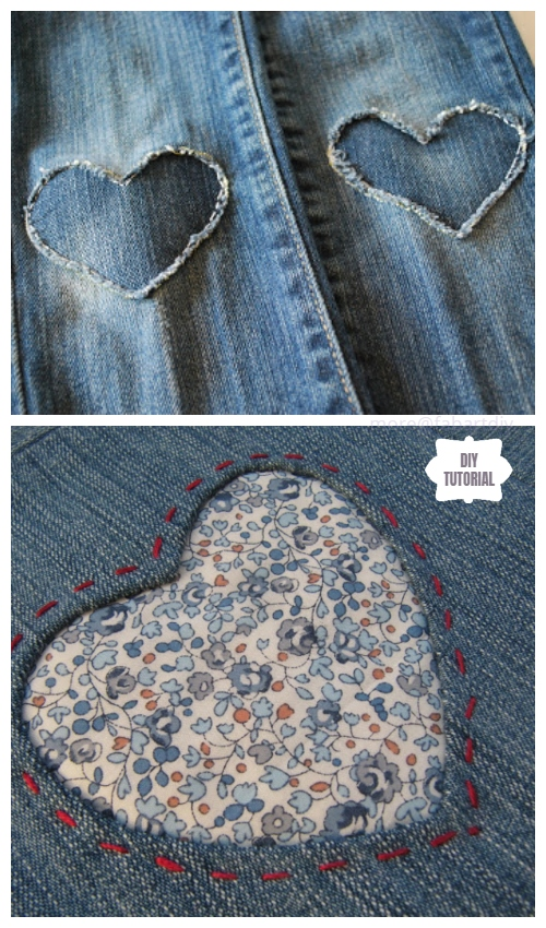 Fun DIY Jean Hole Patches in Cutest Ways - Patch Jean Holes with Fabric Heart DIY Tutorial