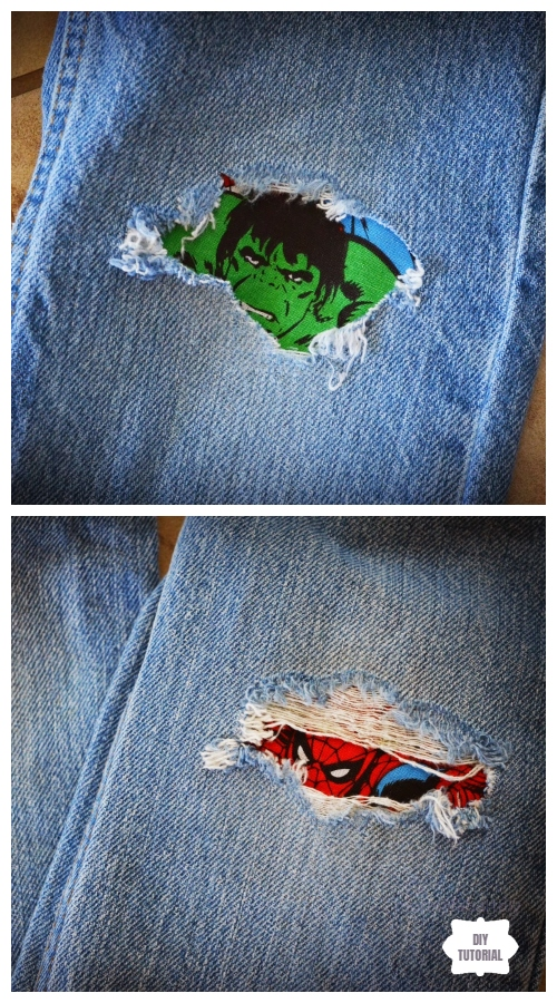 Fun DIY Jean Hole Patches in Cutest Ways - Patch Jean Holes with Custom Iron DIY Tutorials