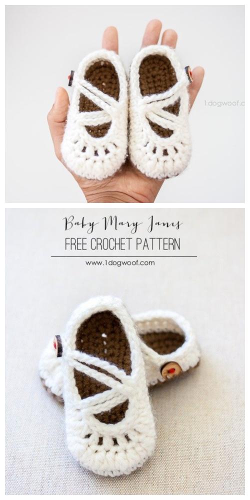 Crochet Mary Jane Baby Booties Free Crochet Patterns -Double-Strapped Mary Janes Free Crochet Pattern