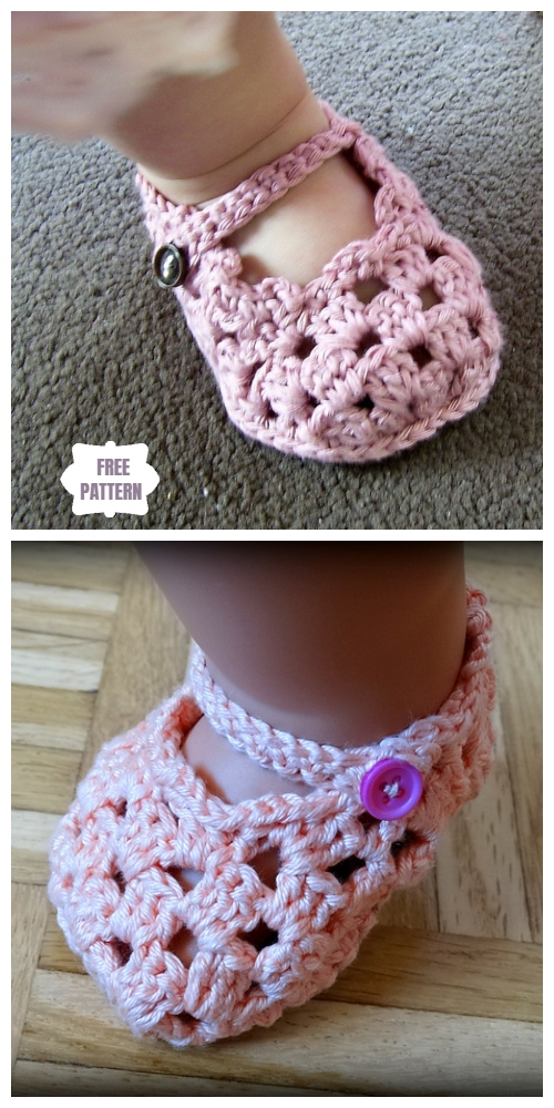Crochet Mary Jane Baby Slippers Free Pattern