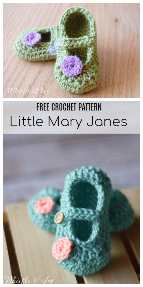 Crochet Mary Jane Baby Booties Free Crochet Patterns -Two-Toned Little Dot Mary Janes Free Crochet Pattern + Video