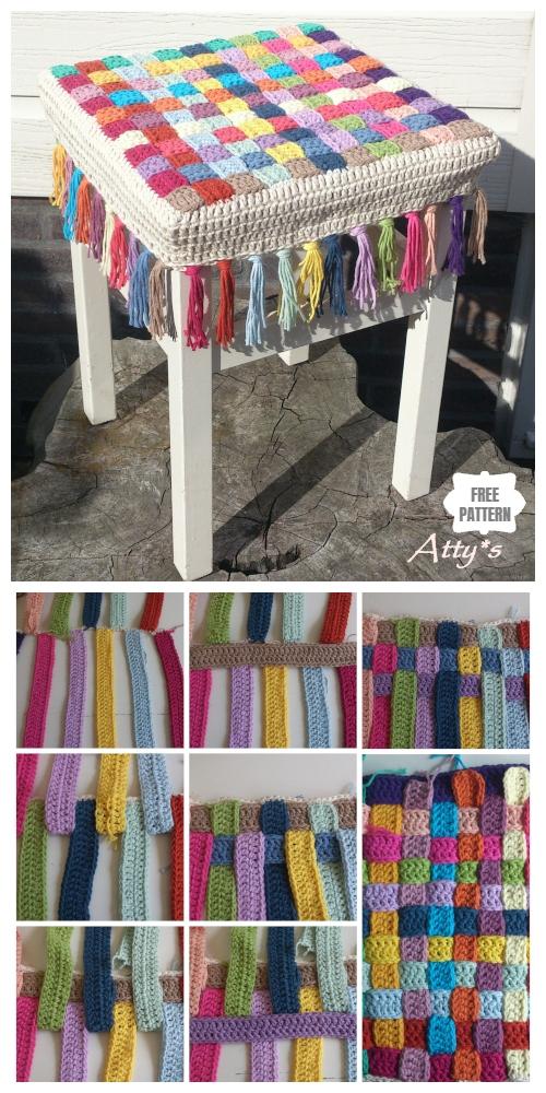 DIY Crochet Basketweave Stool Cover Free Crochet Pattern