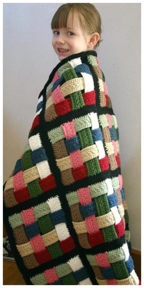 DIY Crochet Basketweave afghan blanket Free Crochet Pattern