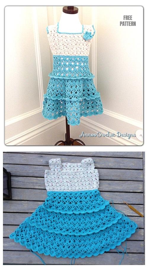 Toddler Summer Vintage Dress Crochet Free Pattern By AnnooCrochet Designs
