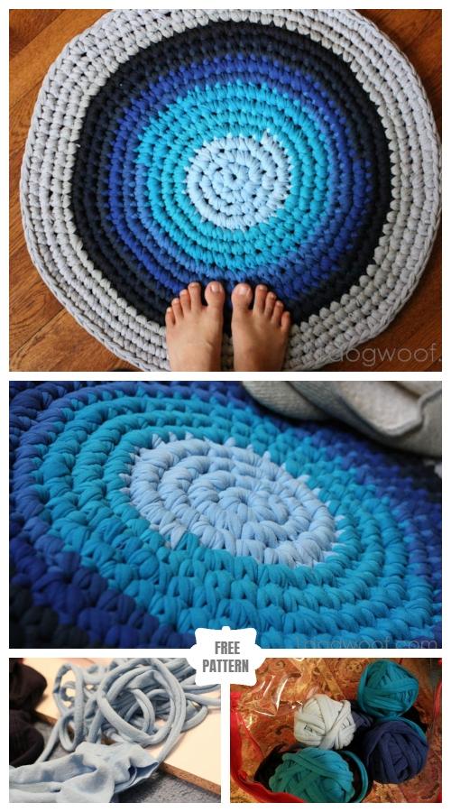 DIY Crochet Rag Rug from Old T-shirts - Free Pattern