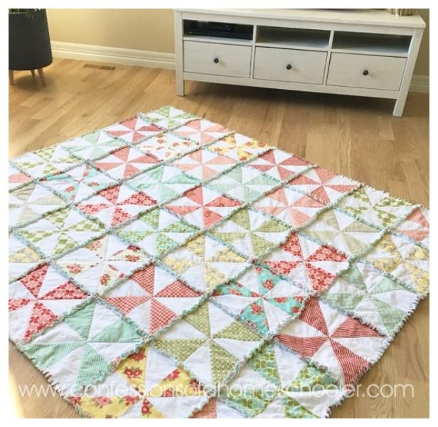 DIY Pinwheel Rag Quilt Blanket Tutorials