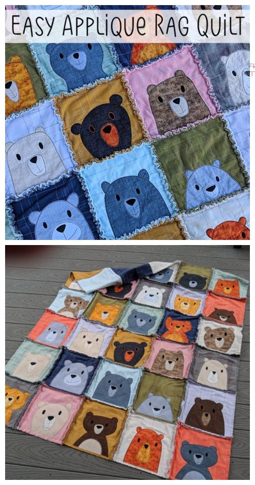DIY Easy Applique Rag Quilt Blanket Tutorials
