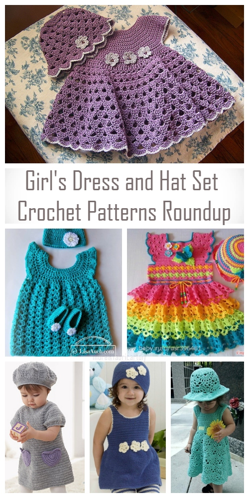 DIY Girl's Crochet Dress and Hat Set Crochet Patterns Round Up