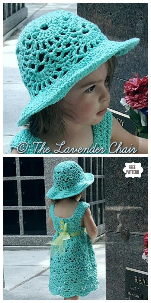Crochet Lacy Shell Dress Hat Set Free Crochet Pattern