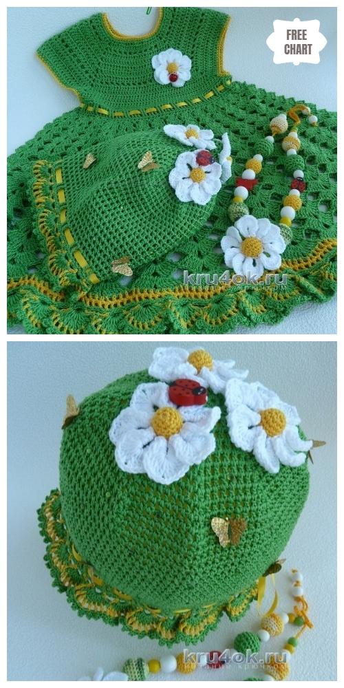 Crochet Christmas dress hat necklace set Free Pattern