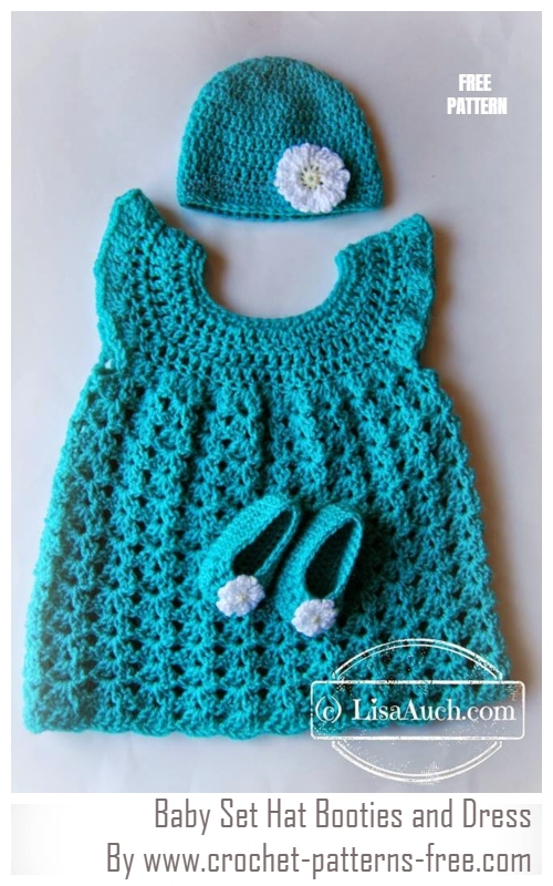 Crochet Baby Set Hat Booties and Dress Free Pattern