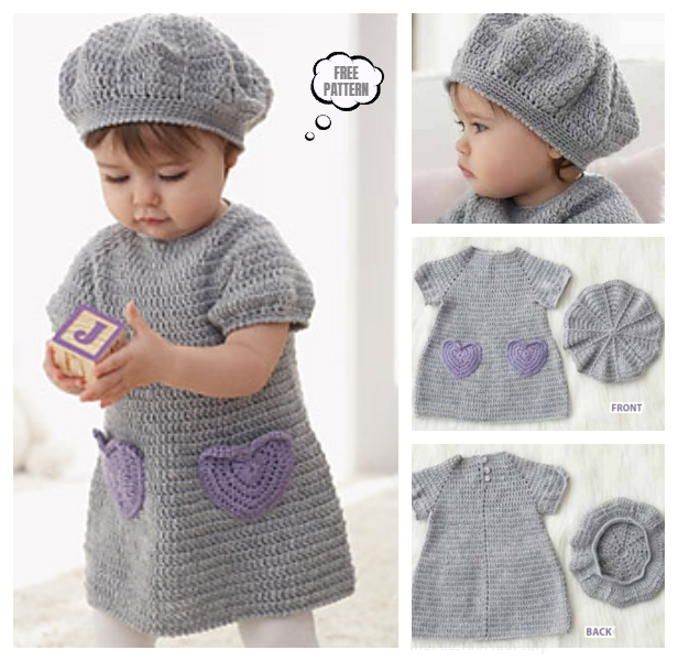 DIY Crochet I Heart My Dress and Hat Set Free Pattern
