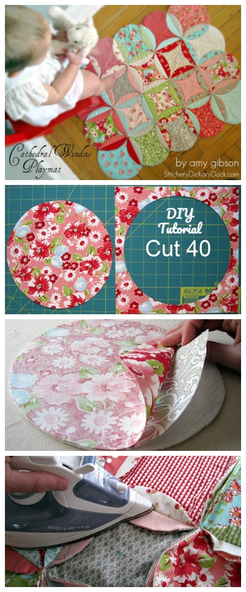 DIY Personalized Cathedral Window Baby Playmat Tutorial + Video