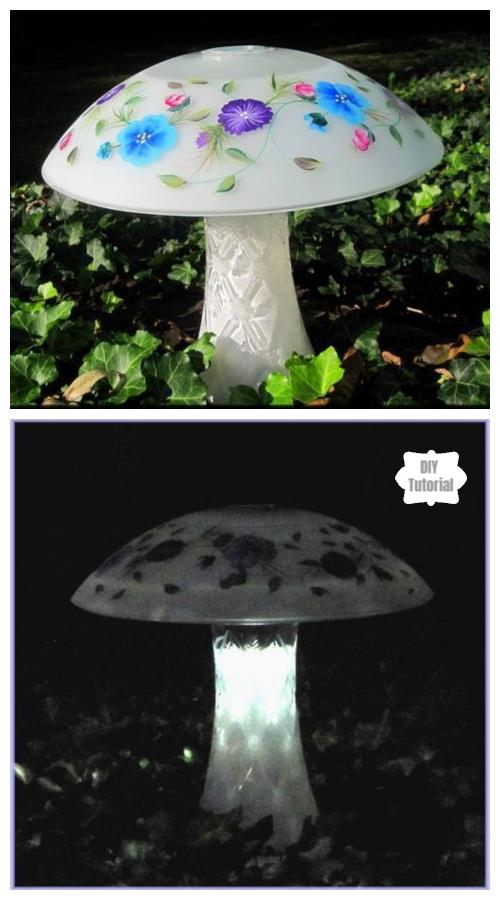 20+ DIY Stunning Outdoor Lighting Ideas for Summer Night - Frosted Solar Mushroom DIY Tutorial