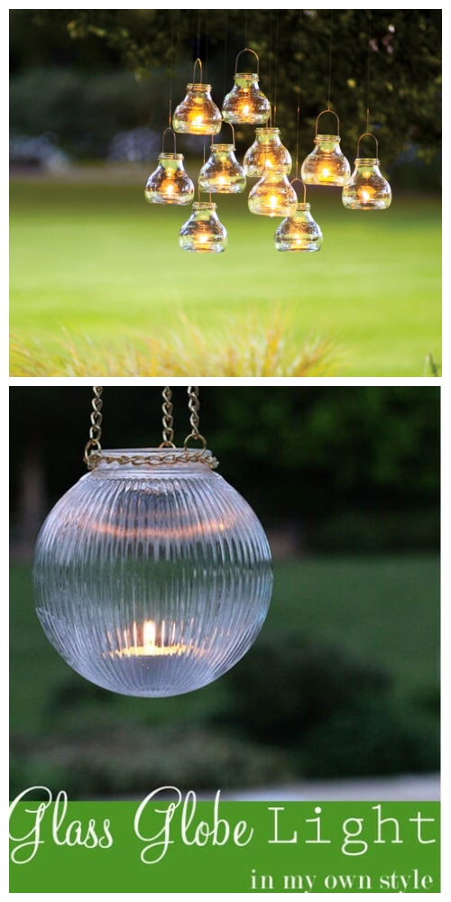 20+ DIY Stunning Outdoor Lighting Ideas for Summer Night - Outdoor Glass Hanging Lights DIY Tutorial