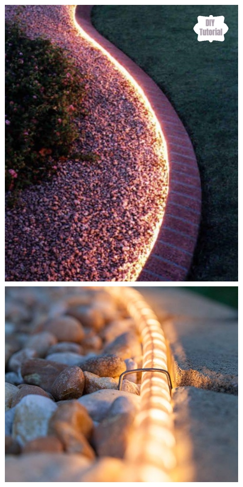 20+ DIY Stunning Outdoor Lighting Ideas for Summer Night -  Rope Light along the pathway DIY Tutorial