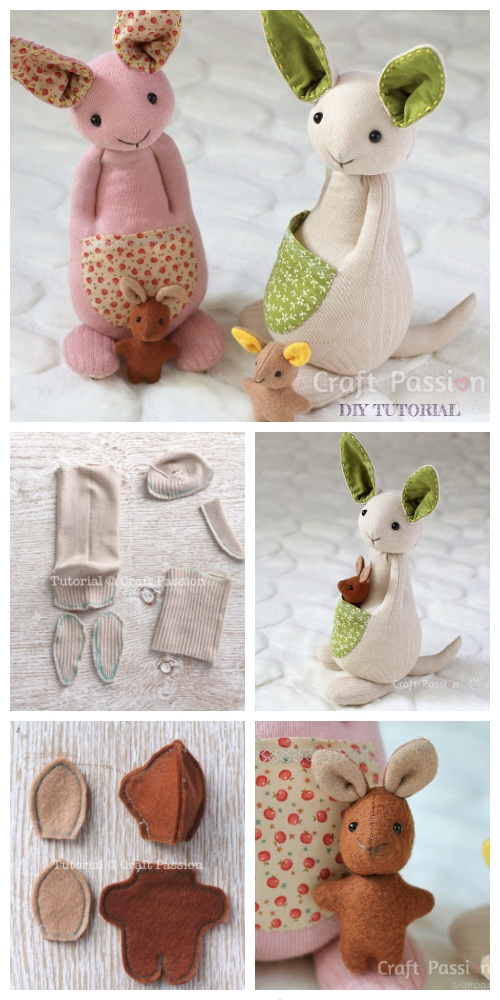 20+ Adorable Sock Toys DIY Tutorials -  DIY Sock Kangaroo Tutorial