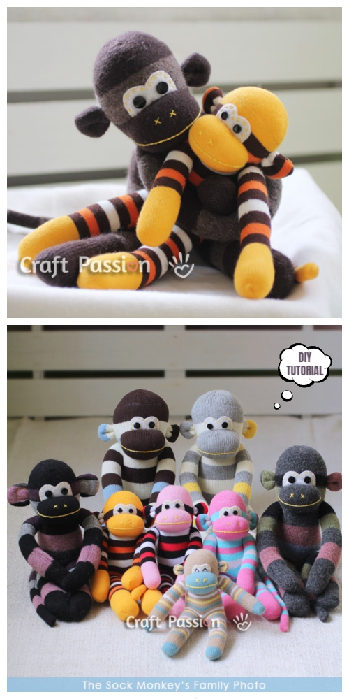 20 Adorable Sock Toys DIY Tutorials You Will Love to Make - DIY Sock Monkey Tutorial
