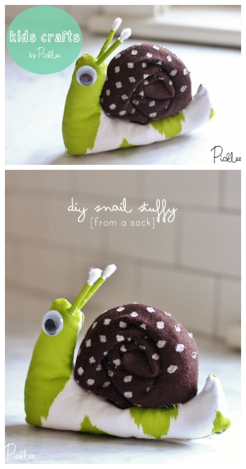 20 Adorable Sock Toys DIY Tutorials You Will Love to Make - DIY Sock Snail Tutorial