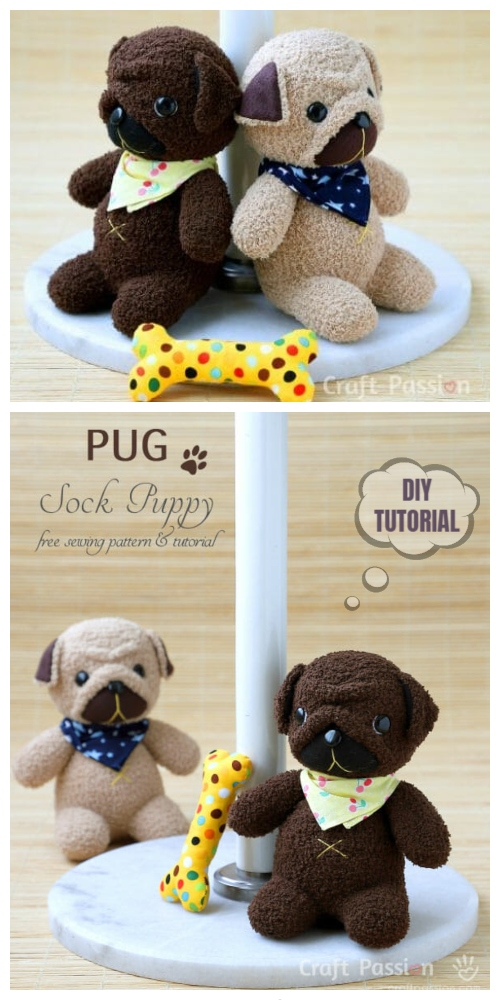 20 Adorable Sock Toys DIY Tutorials You Will Love to Make - DIY Sock Pug Puppy Tutorial