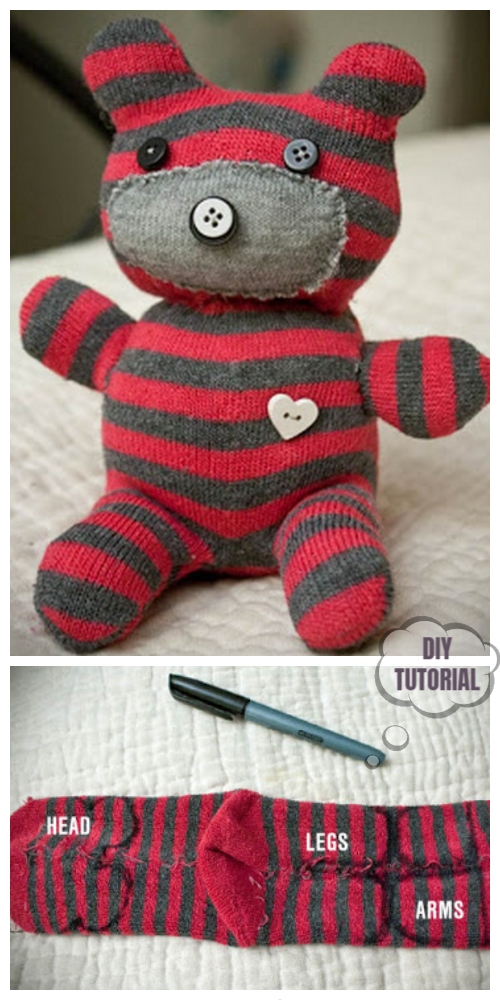 20 Adorable Sock Toys DIY Tutorials You Will Love to Make - DIY Sock Teddy Bear Tutorial