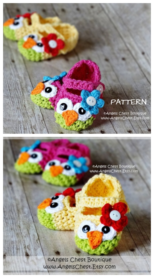 Mary Jane Baby Owl Slippers Crochet Patterns + Video