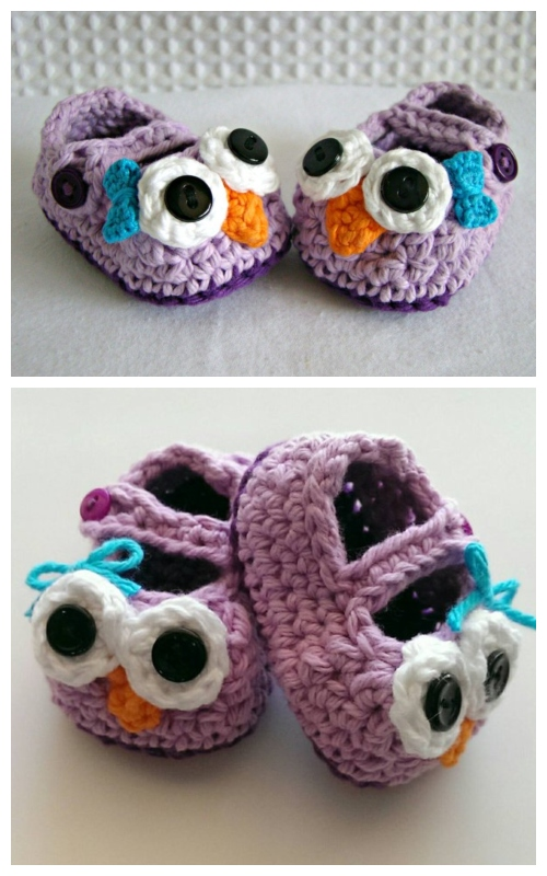 Crochet Mary Jane Baby Owl Booties Slippers Free Crochet Patterns
