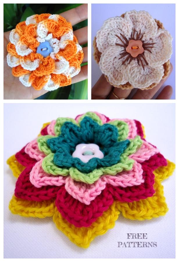 3D Crochet Spring Flower Brooch Free Crochet Patterns