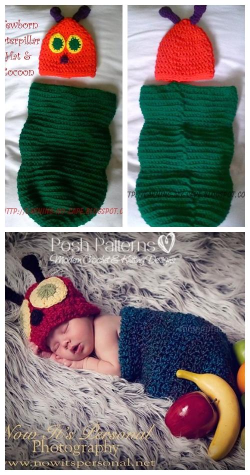 CrochetNewborn Caterpillar Hat & Cocoon Set Free Crochet Patterns
