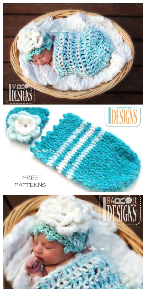 Crochet Fleece Cloud Baby Cocoon and Beanie Set Free Crochet Patterns