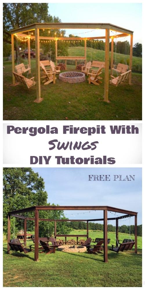 DIY Pergola Firepit With Swings Tutorials