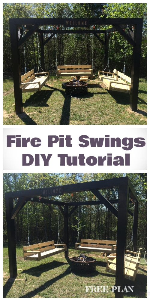 DIY Fire Pit Swing Set Free Plan and Tutorials
