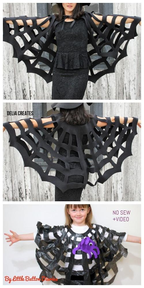20+ DIY Halloween Costume Tutorials for All Ages - DIY No Sew Spiderweb Cape: Costume+Video