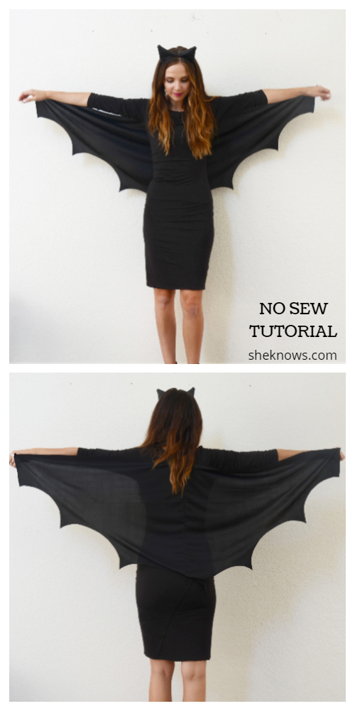 20+ DIY Halloween Costume Tutorials for All Ages -DIY No Sew Bat Wing Costume Tutorials