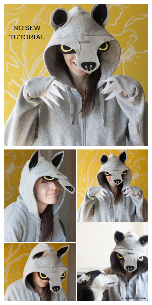 20+ DIY Halloween Costume Tutorials for All Ages -DIY No Sew Wolf Hoodie Costume Tutorials