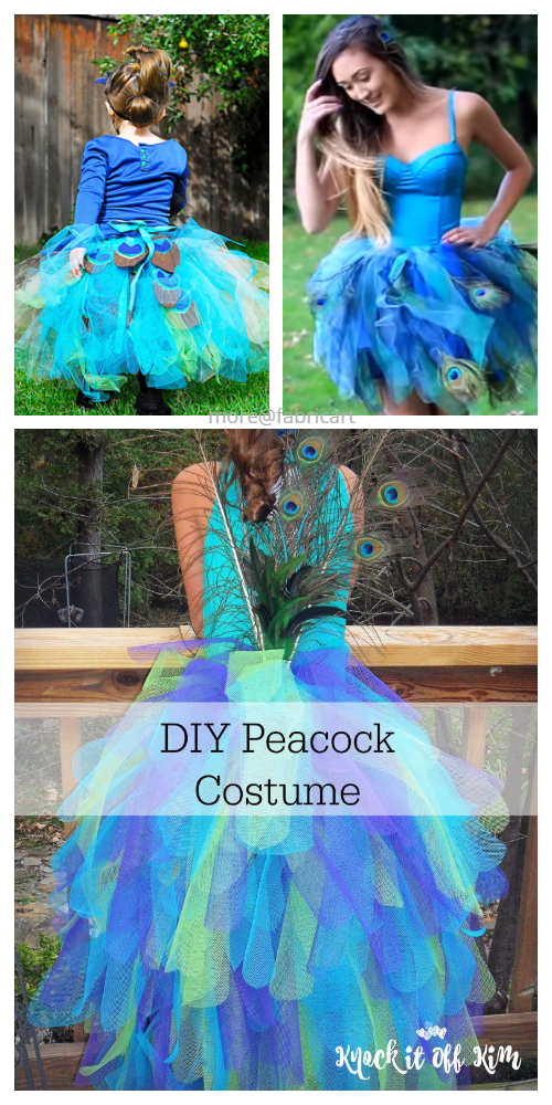 20+ DIY Halloween Costume Tutorials for All Ages - DIY Peacock Costume Tutorials