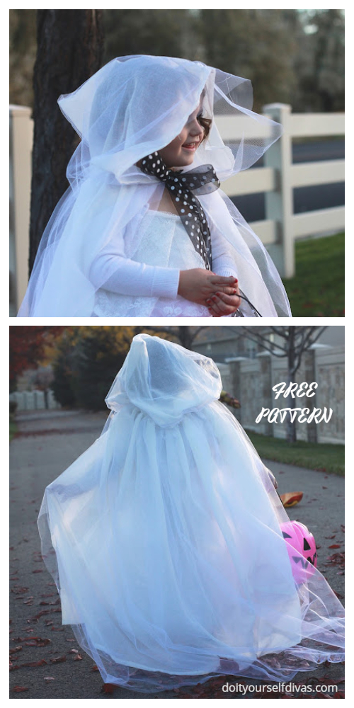 20+ DIY Halloween Costume Tutorials for All Ages - DIY Ghost Costume Free Sewing Pattern&Tutorial