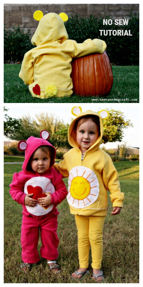 20+ DIY Halloween Costume Tutorials for All Ages - DIY No-Sew Care Bear Costumes Tutorials
