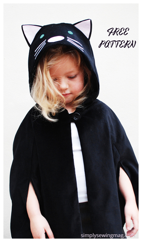 20+ DIY Halloween Costume Tutorials for All Ages -DIY kids' Cat Cape Costume Free Sewing Pattern&Tutorial