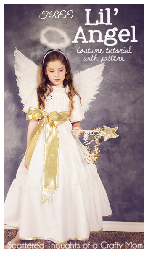 20+ DIY Halloween Costume Tutorials for All Ages - DIY Angel Costume Free Sewing Pattern&Tutorials