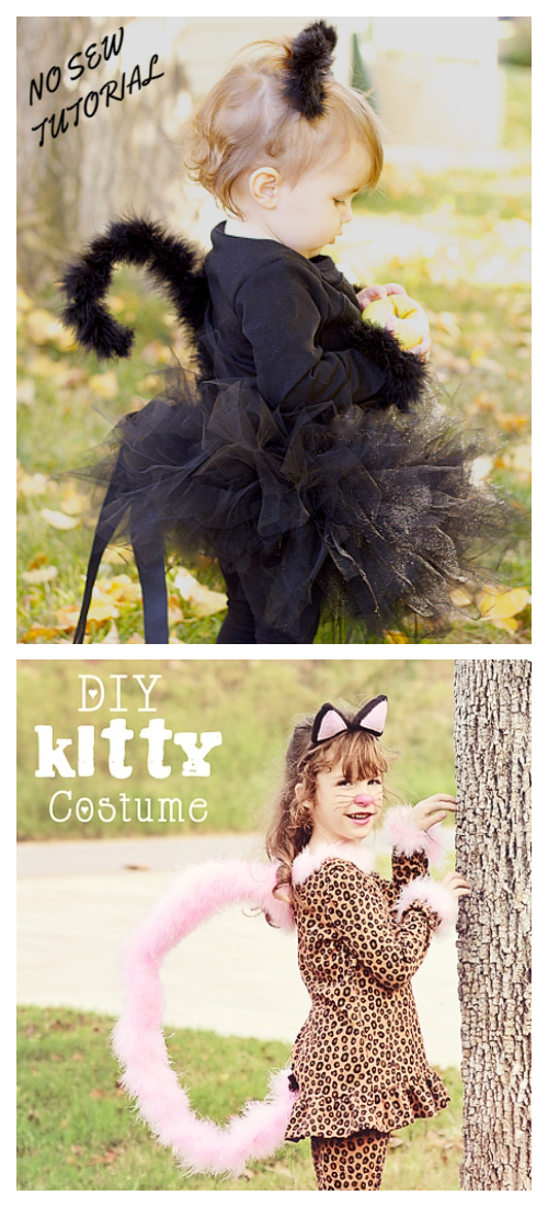 20+ DIY Halloween Costume Tutorials for All Ages -DIY  kitty cat Costume Tutorials